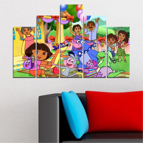 Canvas prints & wall decorative panels - 5 pieces №0680 » Turquoise, Green, Orange, Gray, Beige » Children, Animated, Dora the explorer Form #5