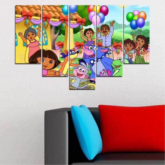 Canvas prints & wall decorative panels - 5 pieces №0680 » Turquoise, Green, Orange, Gray, Beige » Children, Animated, Dora the explorer Form #6