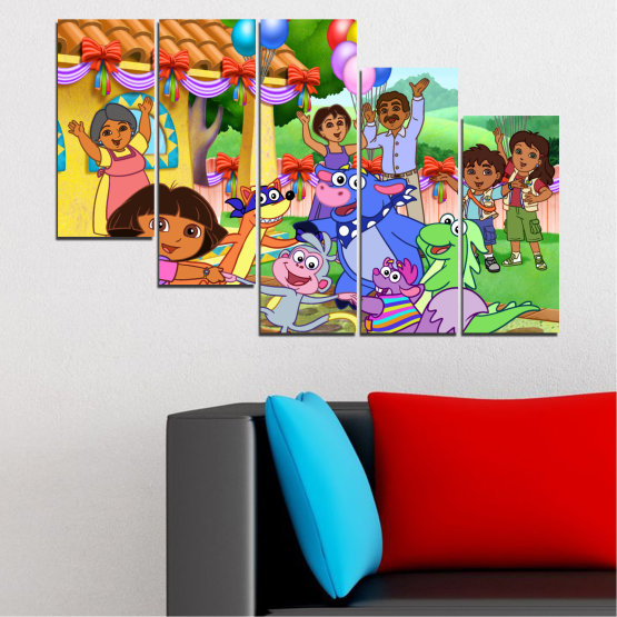 Canvas prints & wall decorative panels - 5 pieces №0680 » Turquoise, Green, Orange, Gray, Beige » Children, Animated, Dora the explorer Form #7