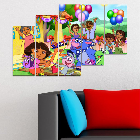 Canvas prints & wall decorative panels - 5 pieces №0680 » Turquoise, Green, Orange, Gray, Beige » Children, Animated, Dora the explorer Form #8