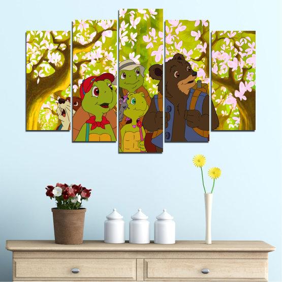 Декоративни панели и картини от канава - от 5 части №0681 » Зелен, Кафяв, Бял, Бежов » Детски, Анимационен, Франклин Form #1