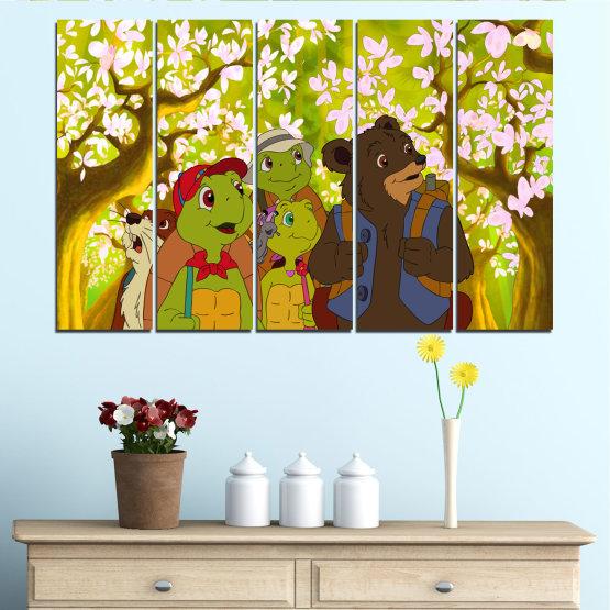 Декоративни панели и картини от канава - от 5 части №0681 » Зелен, Кафяв, Бял, Бежов » Детски, Анимационен, Франклин Form #2