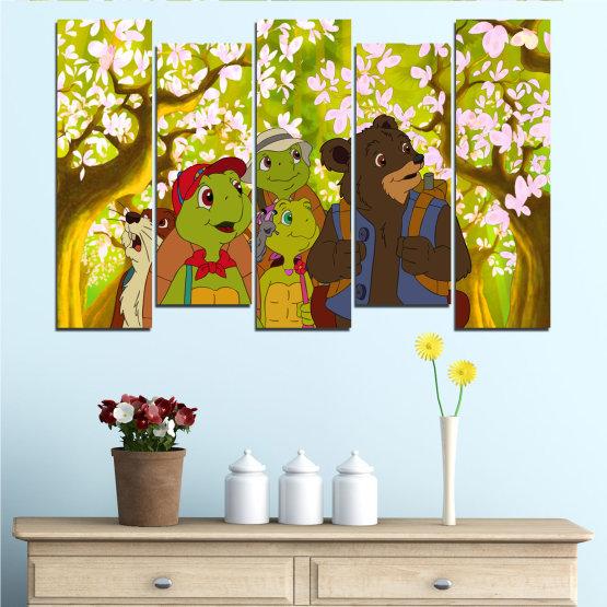 Декоративни панели и картини от канава - от 5 части №0681 » Зелен, Кафяв, Бял, Бежов » Детски, Анимационен, Франклин Form #3