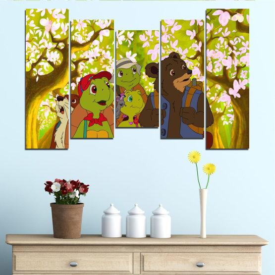 Декоративни панели и картини от канава - от 5 части №0681 » Зелен, Кафяв, Бял, Бежов » Детски, Анимационен, Франклин Form #4