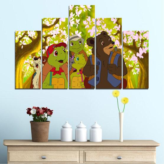 Декоративни панели и картини от канава - от 5 части №0681 » Зелен, Кафяв, Бял, Бежов » Детски, Анимационен, Франклин Form #5