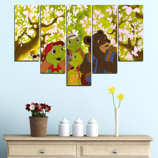 Декоративни панели и картини от канава - от 5 части №0681 » Зелен, Кафяв, Бял, Бежов » Детски, Анимационен, Франклин Form #6