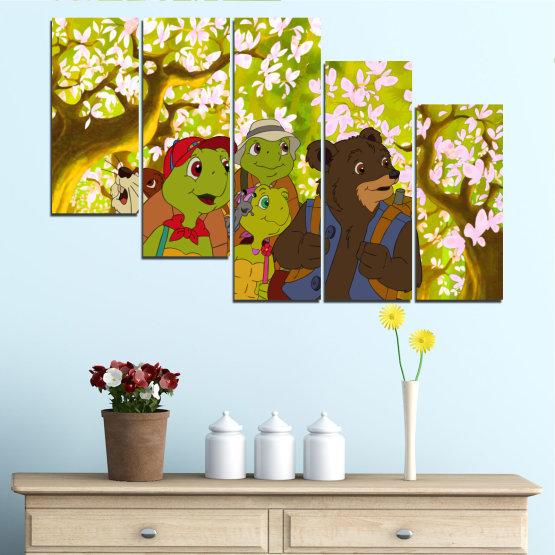 Декоративни панели и картини от канава - от 5 части №0681 » Зелен, Кафяв, Бял, Бежов » Детски, Анимационен, Франклин Form #7
