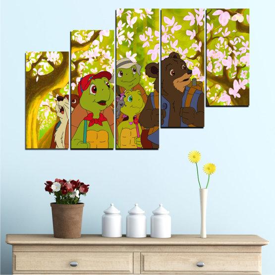 Декоративни панели и картини от канава - от 5 части №0681 » Зелен, Кафяв, Бял, Бежов » Детски, Анимационен, Франклин Form #8