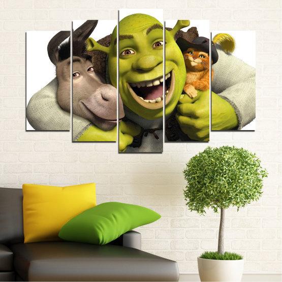 Canvas prints & wall decorative panels - 5 pieces №0682 » Green, Black, Gray, White, Dark grey » Children, Animated, Shrek Form #1