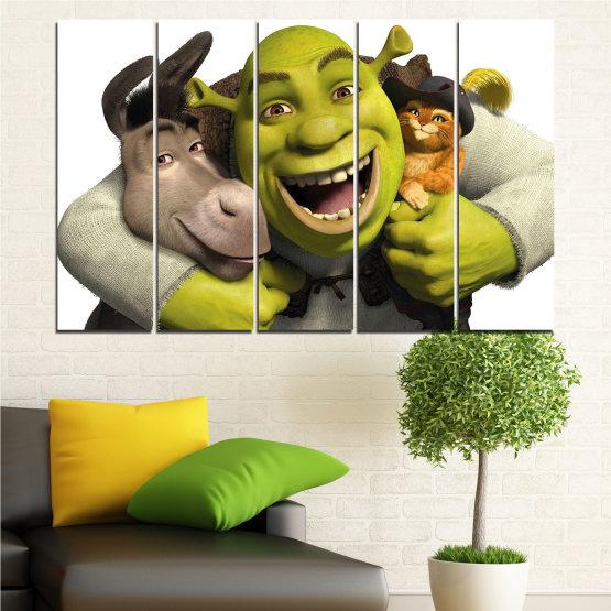 Canvas prints & wall decorative panels - 5 pieces №0682 » Green, Black, Gray, White, Dark grey » Children, Animated, Shrek Form #2