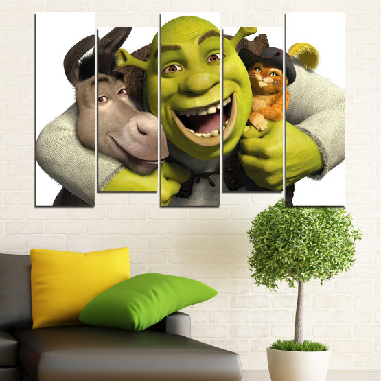 Canvas prints & wall decorative panels - 5 pieces №0682 » Green, Black, Gray, White, Dark grey » Children, Animated, Shrek Form #3