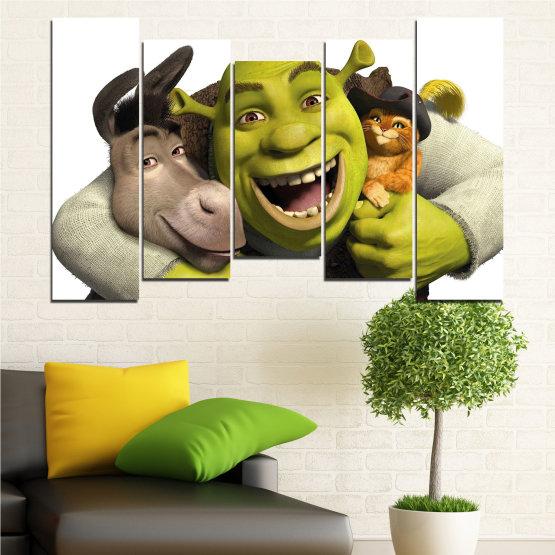 Canvas prints & wall decorative panels - 5 pieces №0682 » Green, Black, Gray, White, Dark grey » Children, Animated, Shrek Form #4