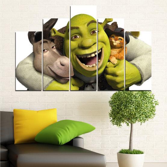 Canvas prints & wall decorative panels - 5 pieces №0682 » Green, Black, Gray, White, Dark grey » Children, Animated, Shrek Form #5