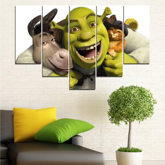 Canvas prints & wall decorative panels - 5 pieces №0682 » Green, Black, Gray, White, Dark grey » Children, Animated, Shrek Form #6