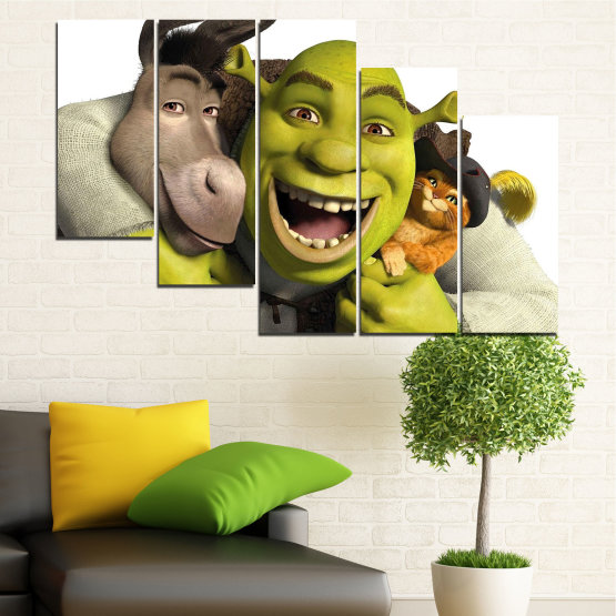Canvas prints & wall decorative panels - 5 pieces №0682 » Green, Black, Gray, White, Dark grey » Children, Animated, Shrek Form #7
