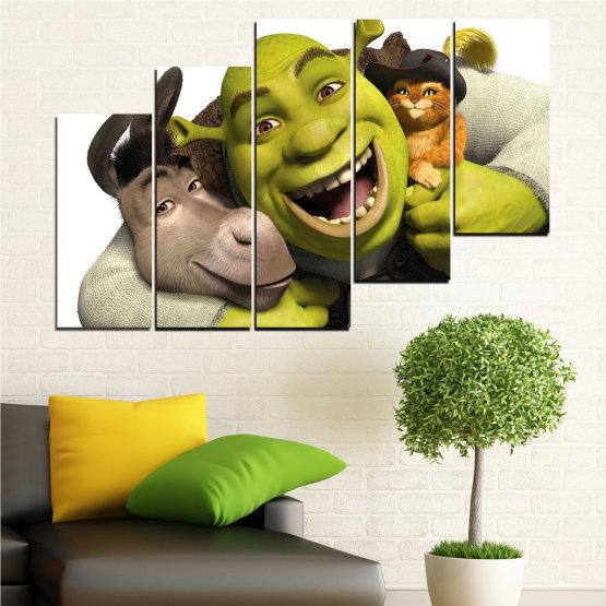 Canvas prints & wall decorative panels - 5 pieces №0682 » Green, Black, Gray, White, Dark grey » Children, Animated, Shrek Form #8