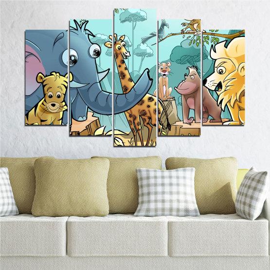 Декоративни панели и картини от канава - от 5 части №0683 » Тюркоаз, Черен, Сив, Бежов » Животни, Детски, Анимационен Form #1