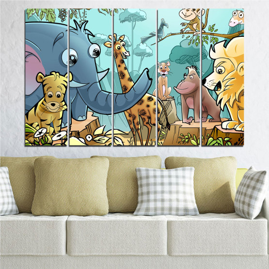Декоративни панели и картини от канава - от 5 части №0683 » Тюркоаз, Черен, Сив, Бежов » Животни, Детски, Анимационен Form #2