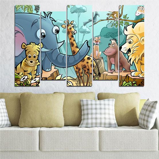 Декоративни панели и картини от канава - от 5 части №0683 » Тюркоаз, Черен, Сив, Бежов » Животни, Детски, Анимационен Form #3
