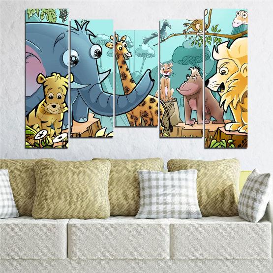 Декоративни панели и картини от канава - от 5 части №0683 » Тюркоаз, Черен, Сив, Бежов » Животни, Детски, Анимационен Form #4