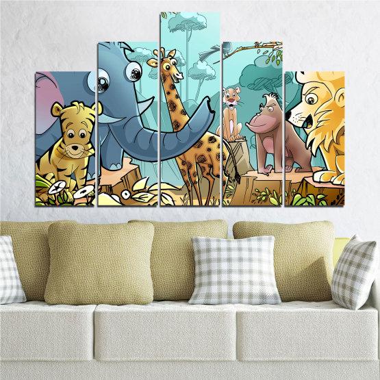 Декоративни панели и картини от канава - от 5 части №0683 » Тюркоаз, Черен, Сив, Бежов » Животни, Детски, Анимационен Form #5