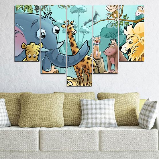 Декоративни панели и картини от канава - от 5 части №0683 » Тюркоаз, Черен, Сив, Бежов » Животни, Детски, Анимационен Form #6