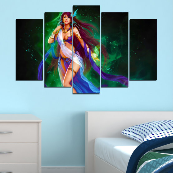 Canvas prints & wall decorative panels - 5 pieces №0684 » Red, Blue, Green, Black, Dark grey » Woman, Fashion, Fairy Form #1