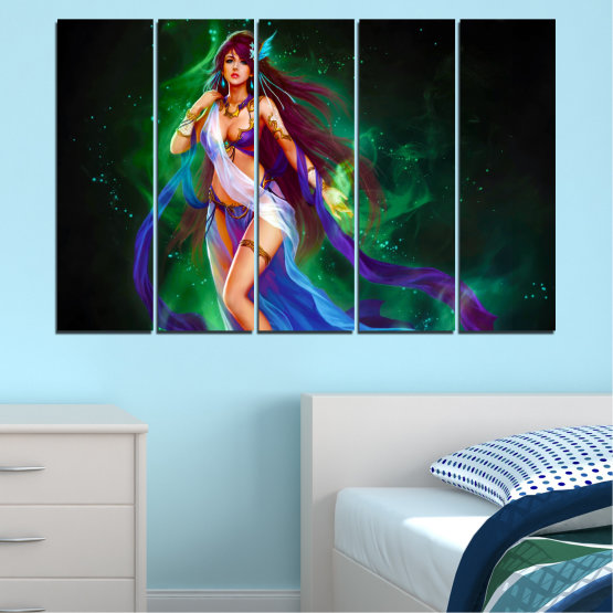 Canvas prints & wall decorative panels - 5 pieces №0684 » Red, Blue, Green, Black, Dark grey » Woman, Fashion, Fairy Form #2