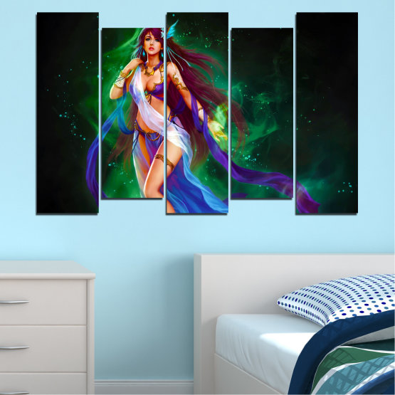 Canvas prints & wall decorative panels - 5 pieces №0684 » Red, Blue, Green, Black, Dark grey » Woman, Fashion, Fairy Form #3