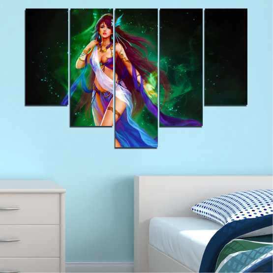 Canvas prints & wall decorative panels - 5 pieces №0684 » Red, Blue, Green, Black, Dark grey » Woman, Fashion, Fairy Form #6