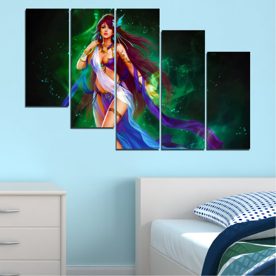 Canvas prints & wall decorative panels - 5 pieces №0684 » Red, Blue, Green, Black, Dark grey » Woman, Fashion, Fairy Form #7
