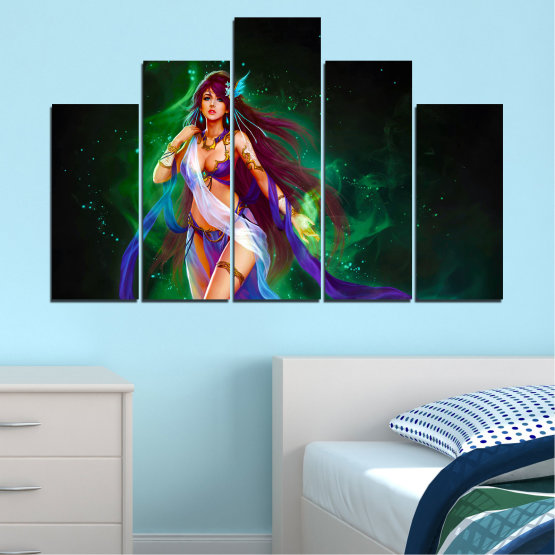 Canvas prints & wall decorative panels - 5 pieces №0684 » Red, Blue, Green, Black, Dark grey » Woman, Fashion, Fairy Form #5