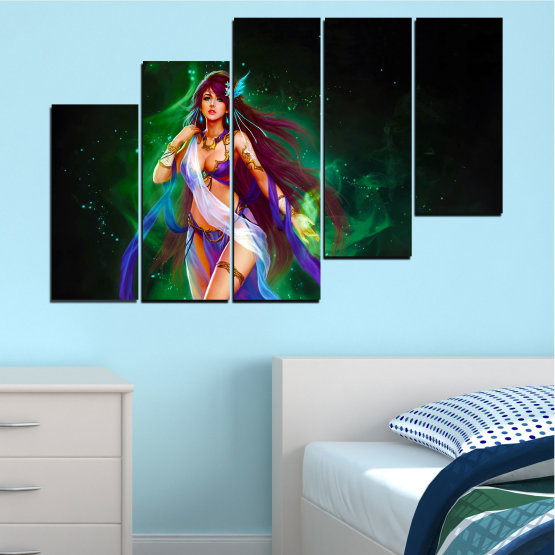 Canvas prints & wall decorative panels - 5 pieces №0684 » Red, Blue, Green, Black, Dark grey » Woman, Fashion, Fairy Form #8