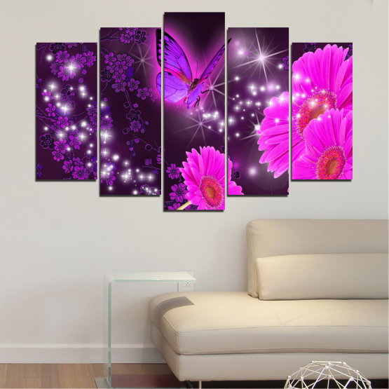 Canvas prints & wall decorative panels - 5 pieces №0685 » Pink, Purple, Black, Dark grey » Flowers, Collage, Butterfly, Gerbera Form #1