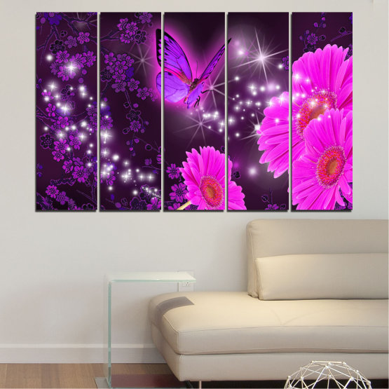 Canvas prints & wall decorative panels - 5 pieces №0685 » Pink, Purple, Black, Dark grey » Flowers, Collage, Butterfly, Gerbera Form #2