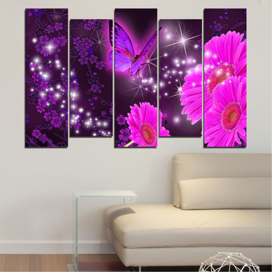 Canvas prints & wall decorative panels - 5 pieces №0685 » Pink, Purple, Black, Dark grey » Flowers, Collage, Butterfly, Gerbera Form #3