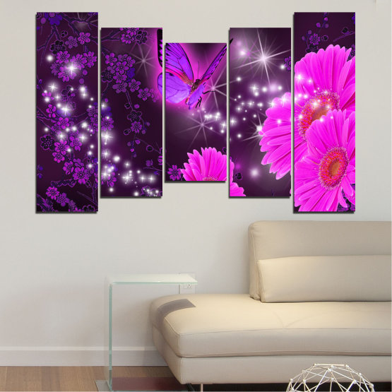 Canvas prints & wall decorative panels - 5 pieces №0685 » Pink, Purple, Black, Dark grey » Flowers, Collage, Butterfly, Gerbera Form #4