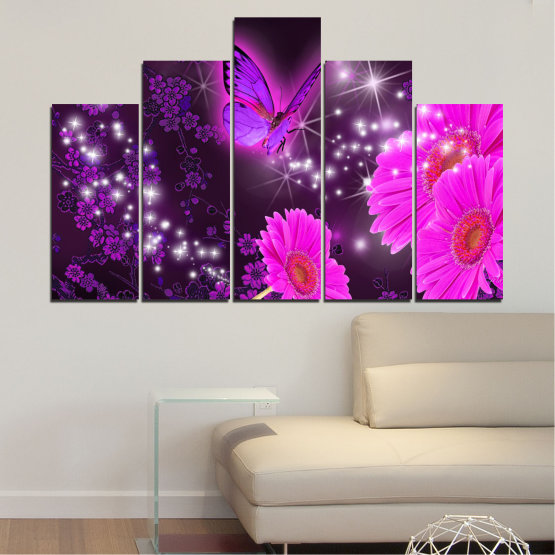 Canvas prints & wall decorative panels - 5 pieces №0685 » Pink, Purple, Black, Dark grey » Flowers, Collage, Butterfly, Gerbera Form #5