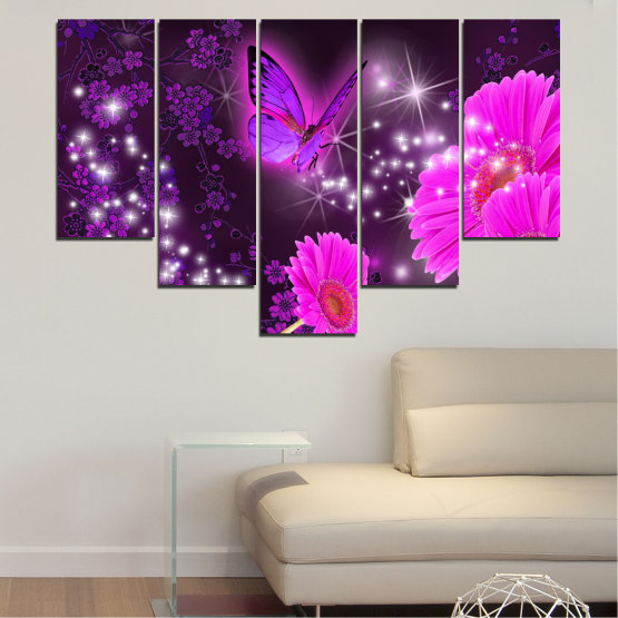 Canvas prints & wall decorative panels - 5 pieces №0685 » Pink, Purple, Black, Dark grey » Flowers, Collage, Butterfly, Gerbera Form #6