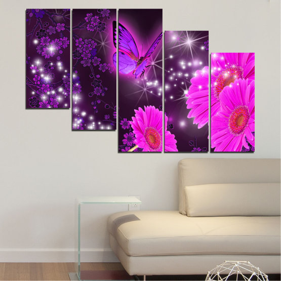 Canvas prints & wall decorative panels - 5 pieces №0685 » Pink, Purple, Black, Dark grey » Flowers, Collage, Butterfly, Gerbera Form #7