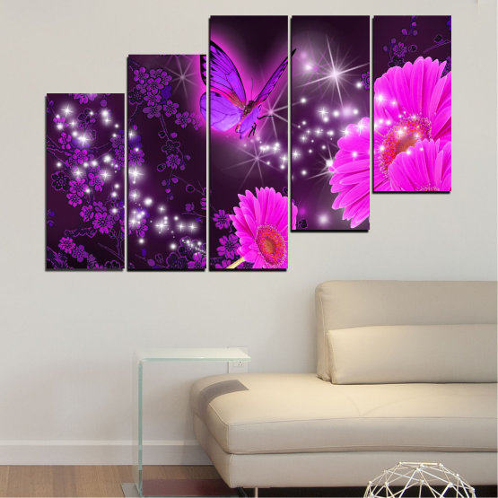 Canvas prints & wall decorative panels - 5 pieces №0685 » Pink, Purple, Black, Dark grey » Flowers, Collage, Butterfly, Gerbera Form #8