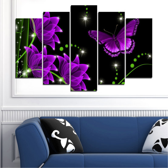 Canvas prints & wall decorative panels - 5 pieces №0686 » Purple, Green, Black, Dark grey » Flowers, Collage, Butterfly Form #1