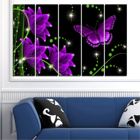 Canvas prints & wall decorative panels - 5 pieces №0686 » Purple, Green, Black, Dark grey » Flowers, Collage, Butterfly Form #2
