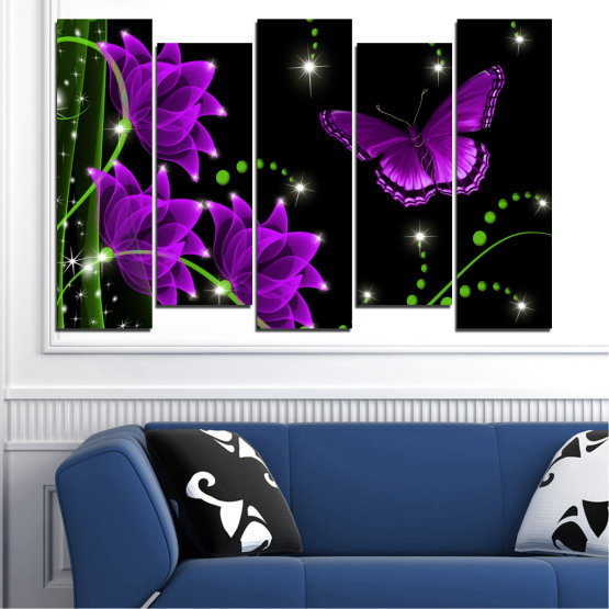 Canvas prints & wall decorative panels - 5 pieces №0686 » Purple, Green, Black, Dark grey » Flowers, Collage, Butterfly Form #3