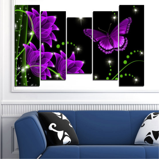 Canvas prints & wall decorative panels - 5 pieces №0686 » Purple, Green, Black, Dark grey » Flowers, Collage, Butterfly Form #4