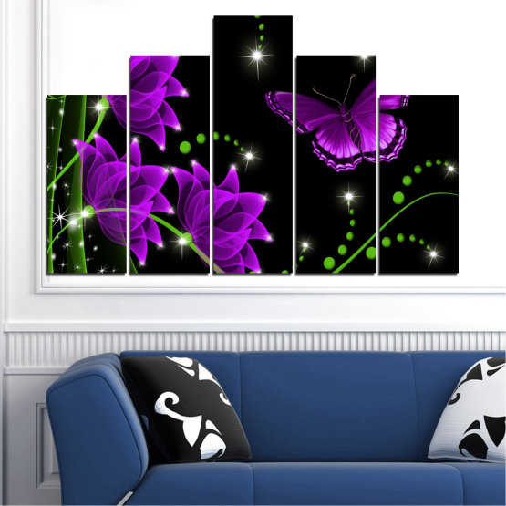 Canvas prints & wall decorative panels - 5 pieces №0686 » Purple, Green, Black, Dark grey » Flowers, Collage, Butterfly Form #5