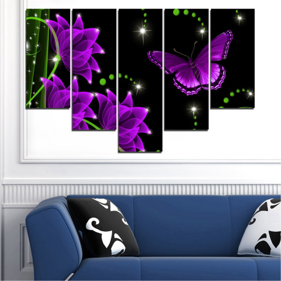 Canvas prints & wall decorative panels - 5 pieces №0686 » Purple, Green, Black, Dark grey » Flowers, Collage, Butterfly Form #6