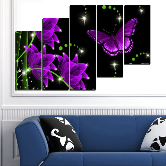 Canvas prints & wall decorative panels - 5 pieces №0686 » Purple, Green, Black, Dark grey » Flowers, Collage, Butterfly Form #8