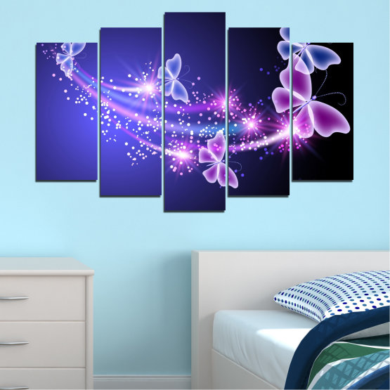 Canvas prints & wall decorative panels - 5 pieces №0687 » Purple, Blue, Black, Gray, Dark grey » Sky, Butterfly, Star Form #1