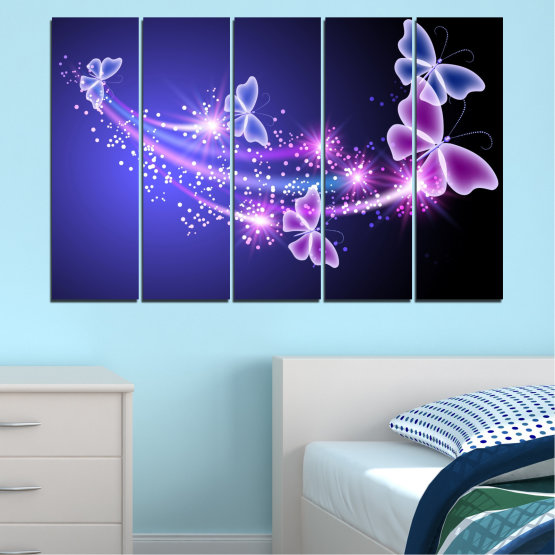 Canvas prints & wall decorative panels - 5 pieces №0687 » Purple, Blue, Black, Gray, Dark grey » Sky, Butterfly, Star Form #2